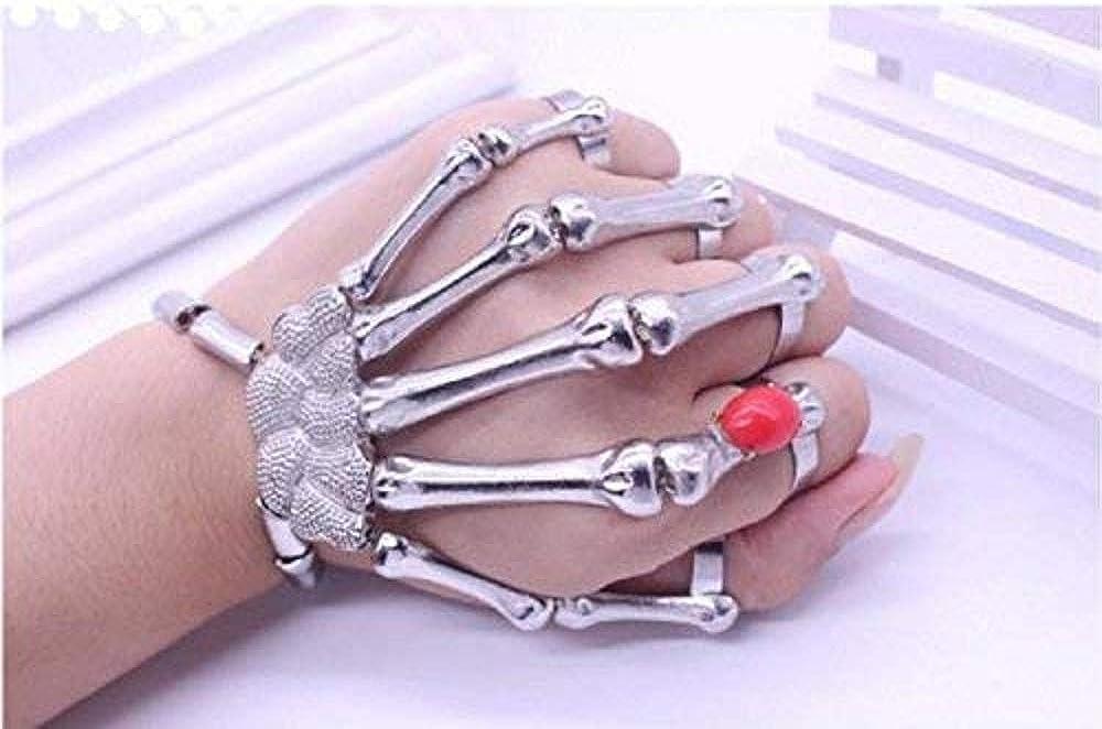 Sperrins Handmade Wristband Skull Fingers Metal Skeleton Hand Bracelet for Women Birthday Gifts