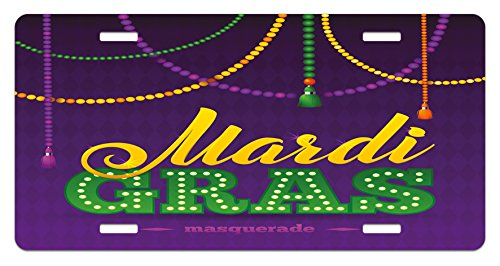 Ambesonne Mardi Gras License Plate, Beads and Tassels Masquerade Theme Calligraphy Design Fun Print, High Gloss Aluminum Novelty Plate, 5.88 L X 11.88 W Inches, Purple Marigold Fern Green -