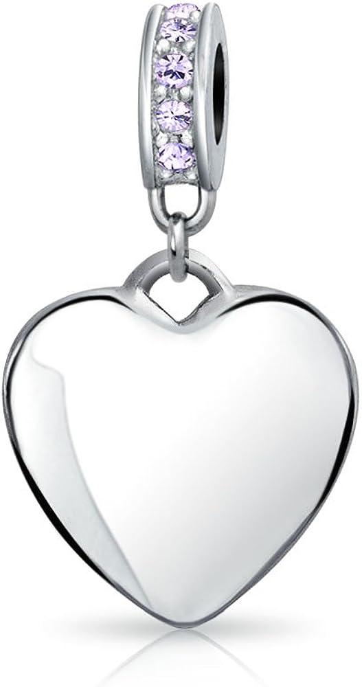 Abalorio Colgante Del Corazón Púrpura De Cristal Encanto Nacimiento Mes Febrero El Encanto Pulsera Europea Para Mujer