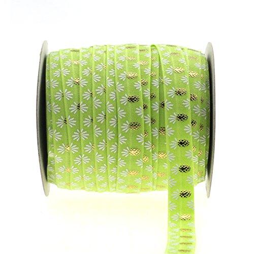 "Midi Ribbon Gold Pineapple Print Fold Over Elastic 5/8"" X 10 Yards/Pack - Color Apple Green"