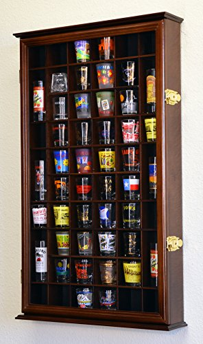 - 54 Shot Glass Shooter Display Case Holder Cabinet Wall Rack w/ UV Protection -Walnut