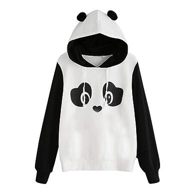 921c78ec4 ROTE Womens Long Sleeve Cute Panda Print Fleece Pullover Sweatshirt Hoodie  Tops at Amazon Women's Clothing store: