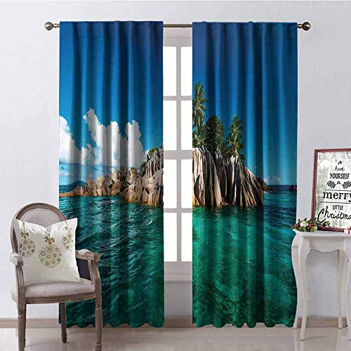 (Gloria Johnson Island Wear-Resistant Color Curtain St. Pierre Island at Seychelles Natural Granite Relaxation Mediterranean Waterproof Fabric W42 x L84 Inch Jade Green Blue Tan)
