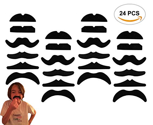 [24PCS Oruuum Novelty Fake Mustache Mustaches Novelty & Toy - Fancy Dress Party Self Adhesive yellow By Allures &] (Fake Mustache Kit)