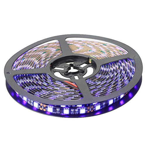 XKTTSUEERCRR 16.4ft/5M 5050 300LED Black PCB UV Purple Blacklight 395-405nm, IP65 Waterproof Flexible Strip Light for Outdoor/Indoor/Stage/House Decoration + DC Connector (Power Supply Not Included) -