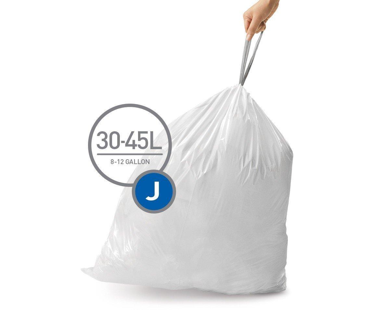 simplehuman Code J Custom Fit Liners, Tall Kitchen Drawstring Trash Bags, 30-45 Liter/8-12 Gallon, 12 Refill Packs (240 Count)