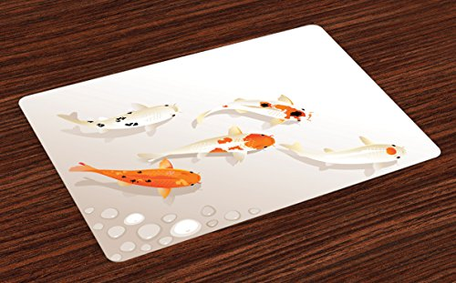 Ambesonne Koi Fish Place Mats Set of 4, Traditional Asian Sacred Spotty Koi Figures Carps Oriental Sign of Love Zen, Washable Fabric Placemats for Dining Room Kitchen Table Decor, Orange ()