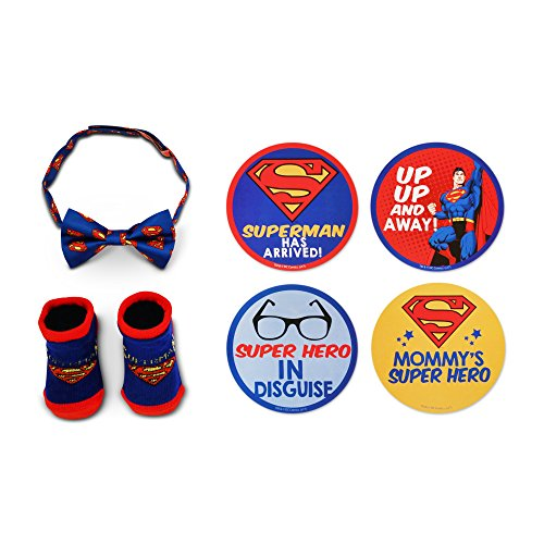DC Comics Baby Boys Superman Milestone Stickers with Bow-tie and Socks Gift Set, blue, red 0-12M ()