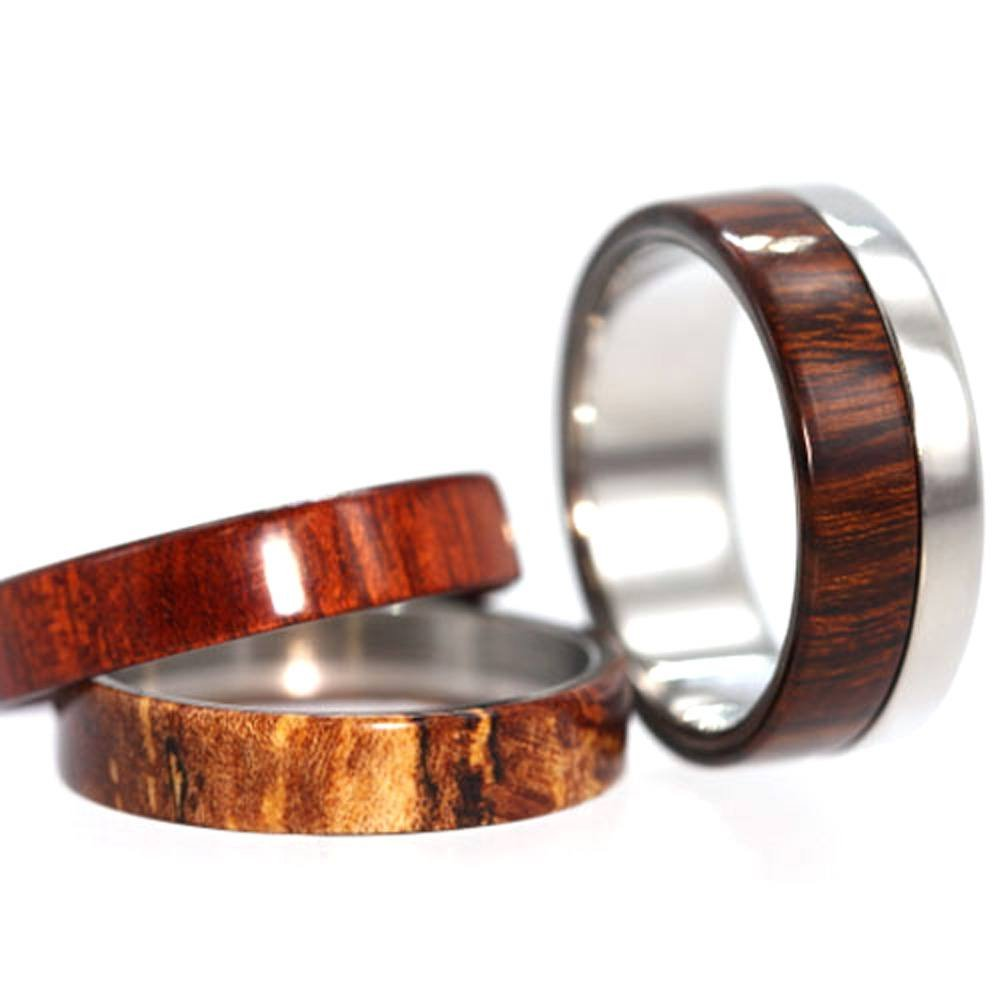 Three Wood Inlay 6mm Comfort-Fit Interchangeable Titanium Ring, Size 13.25