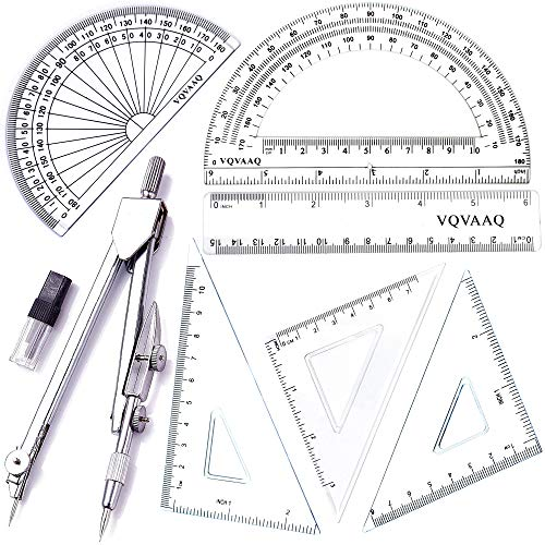 7 Piece Geometry School Set,with Quality Compass, Linear Ruler, Set Squares, Protractor, by XiangLv (Image #8)