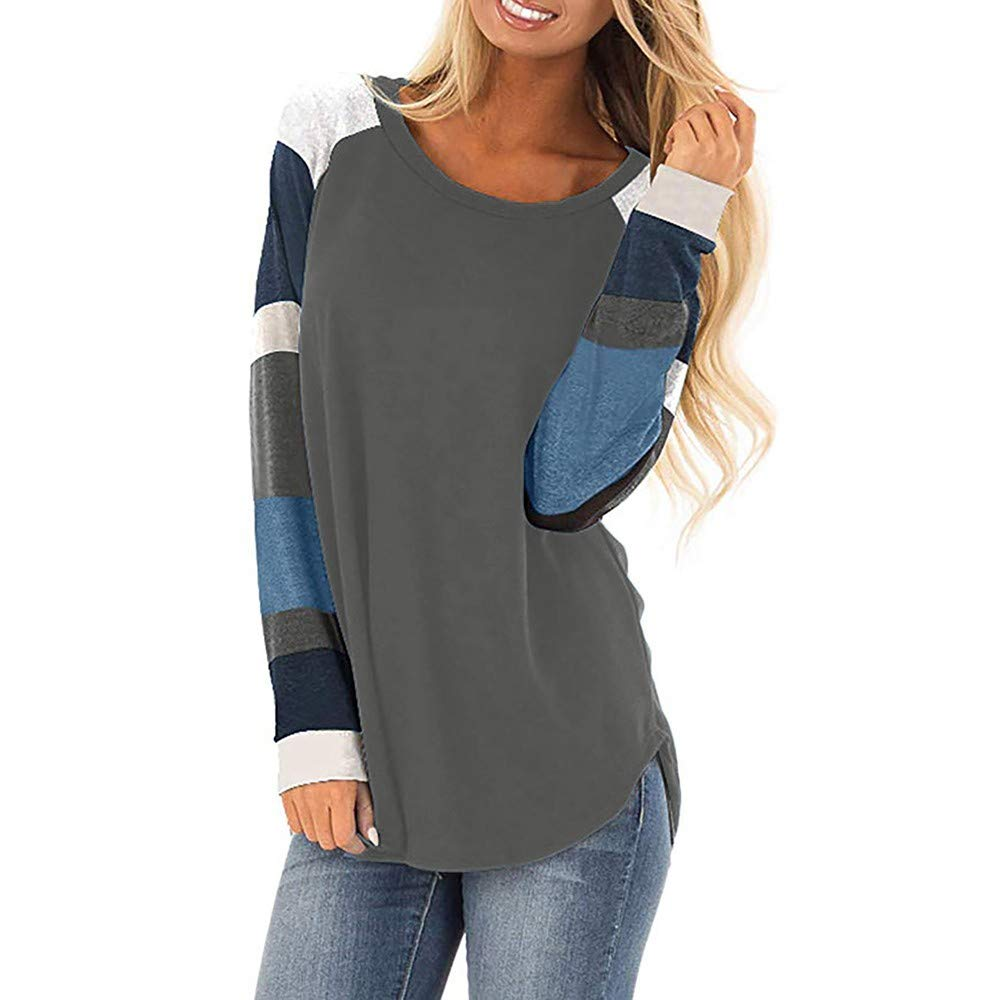 Kumike Fashion Womens Casual Color Block Long Sleeve Loose Lightweight Tunic Tops Pullover Sweatshirt