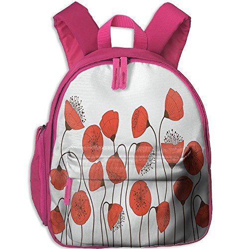 Printed Poppies Modern (Weiheiwec 9 Poppy Flowers Blossom Art Deco Style Summertime Garden Modern Repetition Boys Girls 3D Printed Backpack Pink)