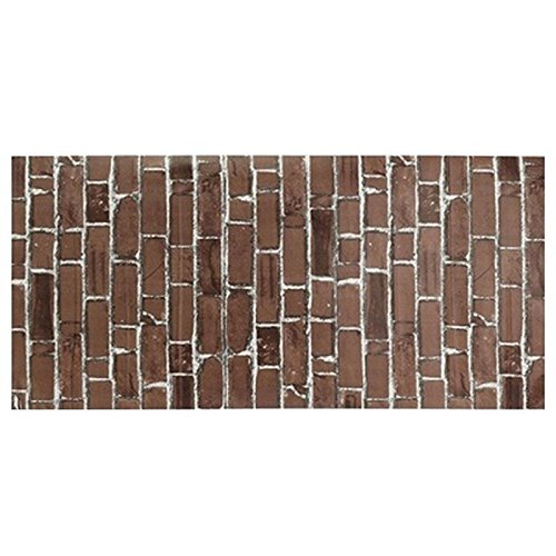 Shopline PVC Realistic Home Bricks Rock Wall Sticker Bedroom Wallpaper Self Adhesive, 1 pc (Coffee)