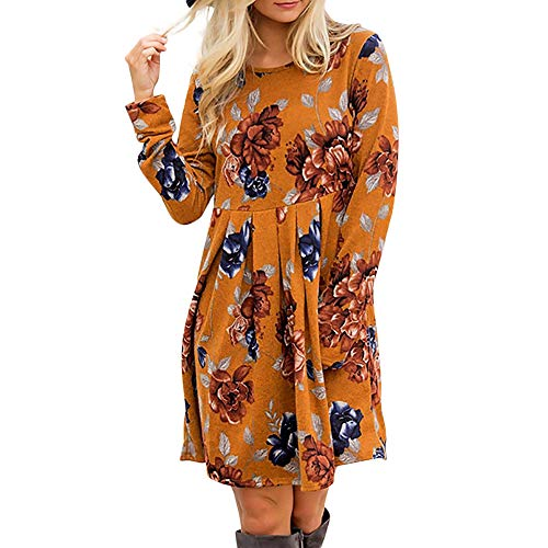 LIM&Shop Women Bohemian Neck Tie Vintage Printed Ethnic Style Summer Shift Dress Orange (Mens Bootcut Jeans Out Of Style 2017)