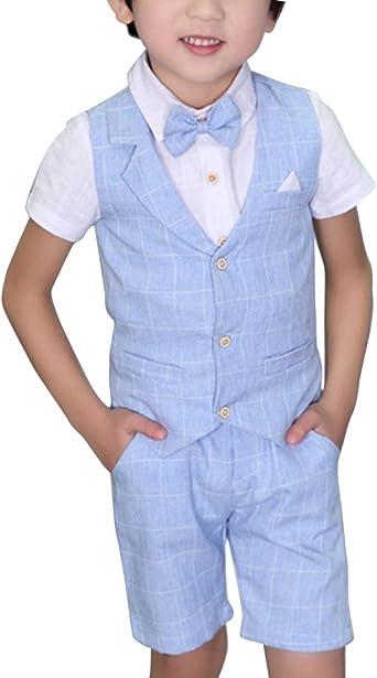 Niño Camisa De Manga Corta con Corbata Chaleco Y Corto Pantalón Set de 3 Piezas: Amazon.es: Ropa y accesorios