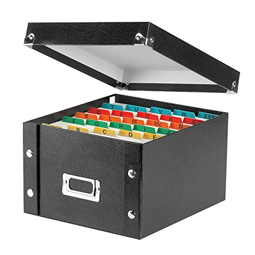 Snap-N-Store SNS01647 Collapsible Index Card File Box, Holds 1,100 5 x 8 Cards, Black