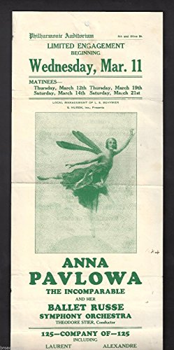 Mlle. ANNA PAVLOVA (Pavlowa) Farewell Tour 1925 Los Angeles Ballet Broadside