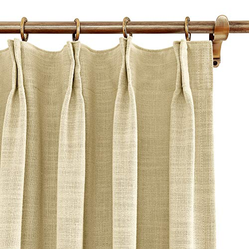 (BeyondEC Blackout Curtains Polyester and Linen Window Treatments with Curtain Hooks for rods Pinch Pleated,Curtains for Bedroom Living Room Study Patio Door(1 Panel) 42Wx84L Inch,Sand Beige)
