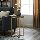Round Wood and Glass Coffee Table WE Furniture AZF16ALSTDWG Wood Side Table, Dark Walnut/Gold
