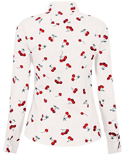 Blanc toiles Coton Manches 1 de Motif Belle Cerise Longues Femme Chemise Chemise en Dioufond q46B7an6