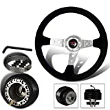 350mm 6 Hole Black Suede Leather Blue Stitches Deep Dish Steering Wheel + DelSol/Civic/Integra Hub Adapter