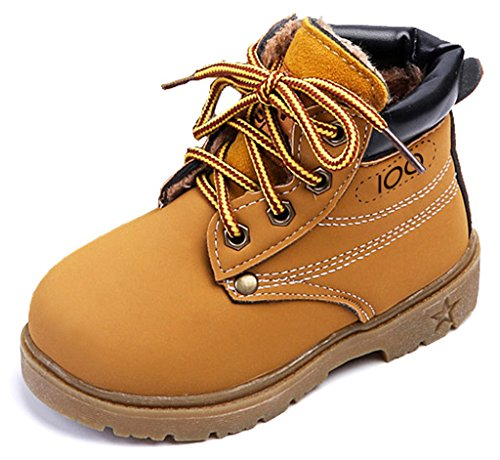 IOO Kids Classic Easy On Waterproof Winter Snow Work Boots for Girls and Boys Wheat Fur Toddler 22 (Cheap Cowgirl Boots Under 20)