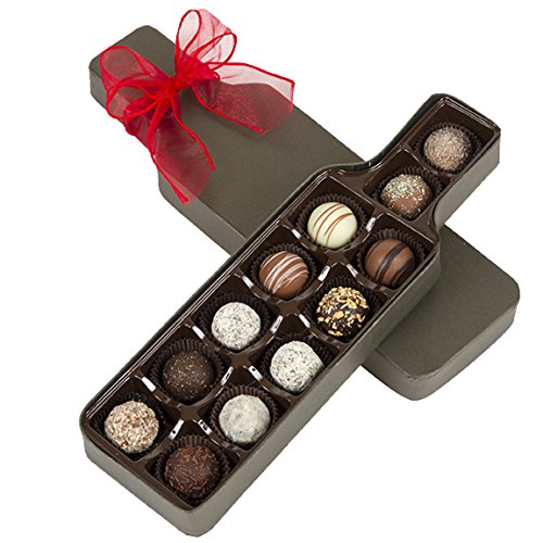 Handcrafted Chocolate Truffle Assortment Wine Box - 12 Piece Gourmet Chocolate Gift for Valentines Day by Sugar Plum Chocolates