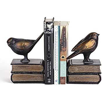Danya B. DS781 Decorative Rustic Bookshelf Decor   Birds On Books Bookend  Set   Bronze