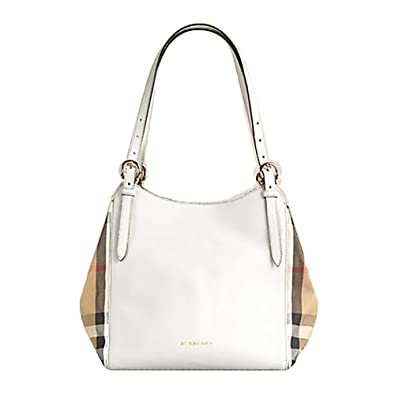 bebd92d11b52 Amazon.com  Tote Bag Handbag Authentic Burberry Small Canter in Leather and  House Check Natural Color Made in Italy  Shoes