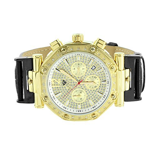 King Watch Master Diamond (King Aqua Master Gold Stainless Steel Leather Band Real Diamond Watch)