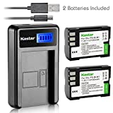 Kastar Battery (X2) & LCD Slim USB Charger for Olympus BLM-1, BLM-01, PS-BLM1 and Olympus C-5060, C-7070, C-8080, E-1, E-3, E-30, E-520, EVOLT E-300, E-330, E-500, E-510 Camera