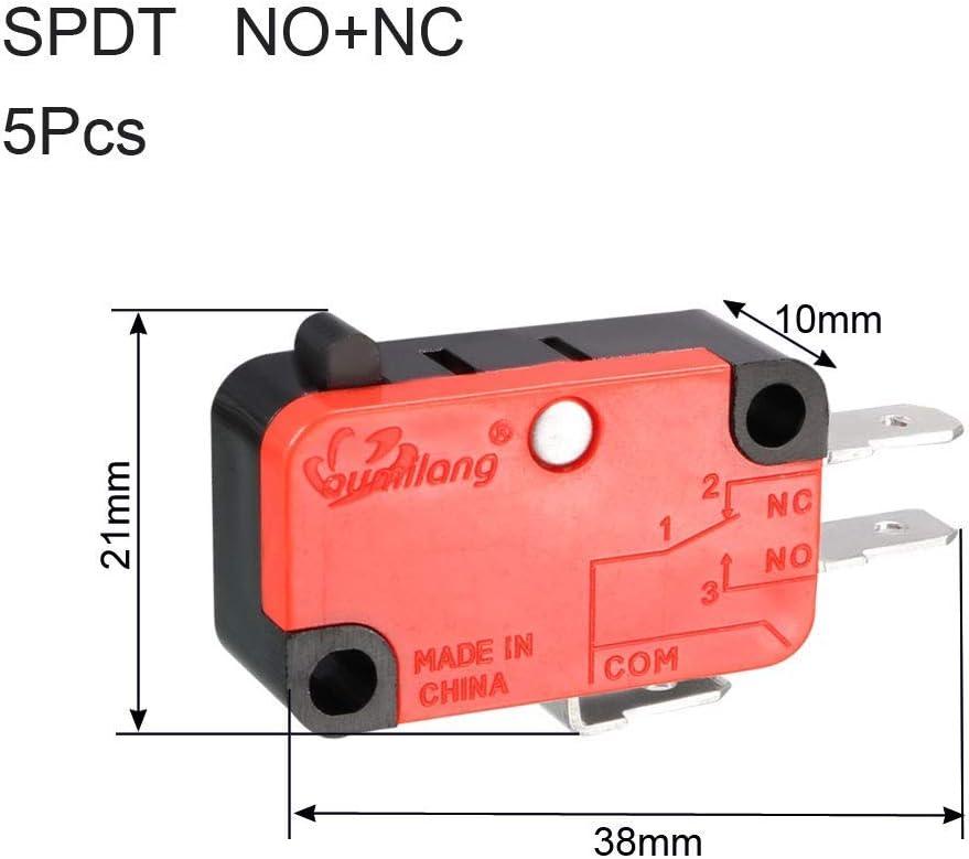 250V AC 3 Terminals Push Button Type Micro Limit Switch 5PCS OV-15-1C25 15A 125