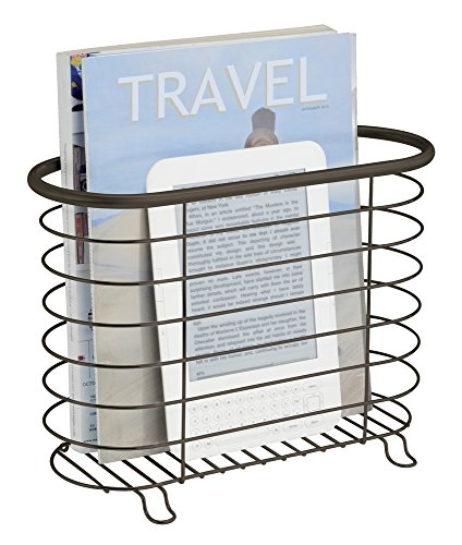 mDesign Decorative Modern Magazine Holder and Organizer Bin - Standing Rack for Magazines, Books, Newspapers, Tablets in Bathroom, Family Room, Office, Den - Steel Wire Design - Bronze by mDesign