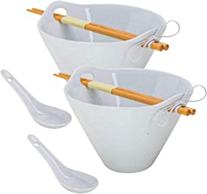 XL Tasse Verre Porcelain Noodle Bowl Sets with Bamboo Chopsticks and Ceramic Spoon For Ramen, Soup, Salad, Pho, Fruit (40 Ounce Bowl)- White - 2-Pack