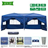 VINGLI Heavy Duty 10' x 20' Ez Pop Up Canopy Tent with 6 Removable Sidewalls, Folding Instant Wedding Party Gazebo Pavilion W/Roly Carrying Case Bag Wheeled Blue