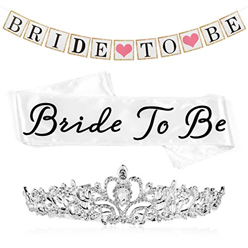 Bride to Be Bachelorette Party Decoration and Shower Kit, White Satin Sash, Metal and Rhinestone Tiara, and Bride To Be Banner with Ribbon by Sunrise Party Supplies (Bachelorette Tiara And Sash)
