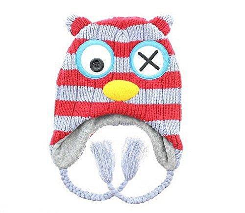 Milani Unisex Super Cute Animal Face Knit Winter Earflap Cap Hat - Owl