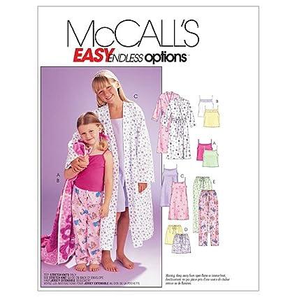 McCalls M6225 - Patrón de costura para confeccionar batas, camisones y pijamas de niña (tallas XS y S): Amazon.es