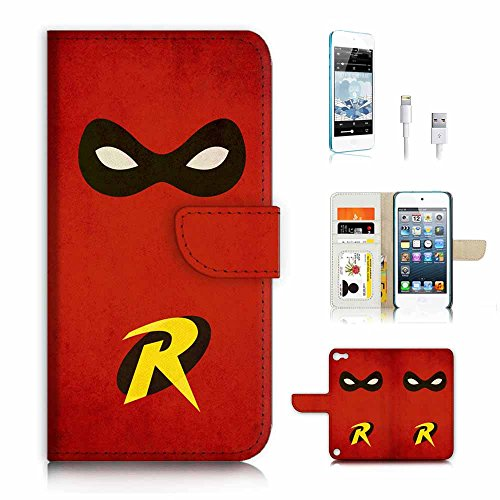 ( For ipod 5, itouch 5, touch 5 ) Flip Wallet Case Cover & Screen Protector & Charging Cable Bundle! A3297 Super Hero Robin