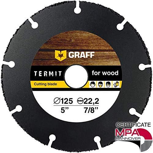 [Gesponsert]Flexscheibe für Holz GRAFF Termit 125mm / 115mm, Winkelschleifer Holz Trennscheibe (wood carving disc) für Holz Schnitzen und Schneiden, Speedcutter (125 mm)