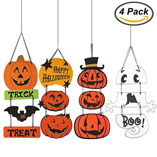 Resinta 4 Pack Halloween Decoration Hanging Door Decorations Halloween Trick or Treat Sign Happy Halloween Wall Hanging for Halloween Decor or Party Supplies