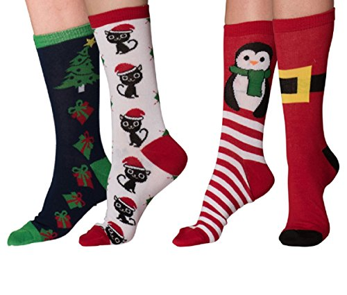(Mens & Womens Fun Novelty Holiday Halloween Xmas Socks- One Size Fits Most (One Size Fits Most (Shoe-4-10), Christmas 4 PK Crews -Penguin/Cat Argyle/Santa Buckle/Xmas Presents))