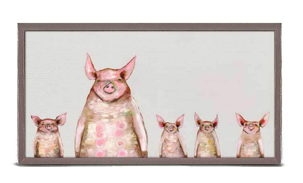 Soft Gray Mini Framed Canvas 10 x 5. Five Piggies In A Row