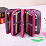 Pencil Case Handy Wareable Oxford Colored Pencil Pouch Professional 4 Layers and 4 Zippers 72 Inserting Super Large Capacity Multi-Layer for Students Pen Bag Pouch Stationery Case (Rose Red)