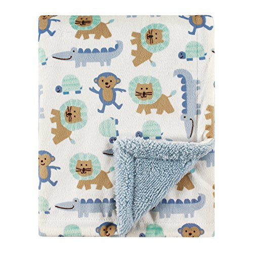 Luvable Friends Unisex Baby Mink Blanket with Sherpa Backing, Jungle, One Size