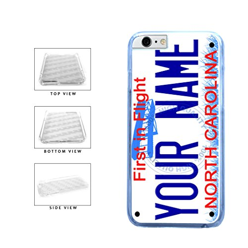 BleuReign(TM) Personalized Custom Name North Carolina State License Plate Clear Sides Plastic Phone Case Back Cover For Apple iPhone 6 6s (4.7 Inches Screen) (Bleu Reign Inc Iphone 6)
