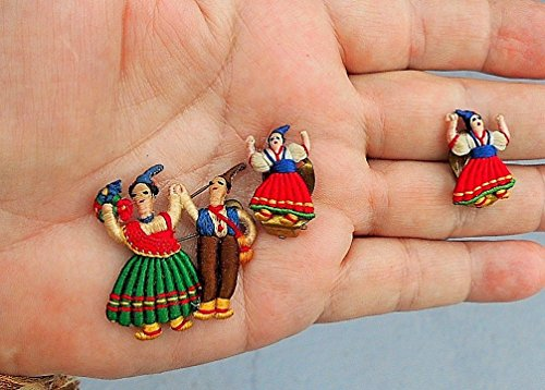 Vintage Tiny Hand Crocheted Dutch Dancers Pin & Clip-On Earrings. One One Inch Tall. Very Miniature (Vintage Pin Earrings)