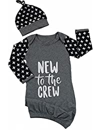 EGELEXY New to The Crew Gown Newborn Baby Gown Outfit Long Sleeve Sleep Bag with Hat