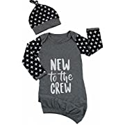 Newborn Baby New to The Crew Long Sleeve Nightgown Swaddle Coming Home Outfit 0-6 Months Size 0-6 Months/Tag70 (Gray)