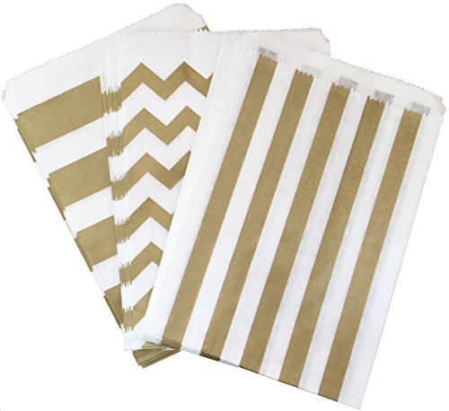 Halloween Candy Buffet - Outside the Box Papers Gold and White Chevron and Stripe Treat Sacks 5.5 x 7.5 48 Pack Gold, White